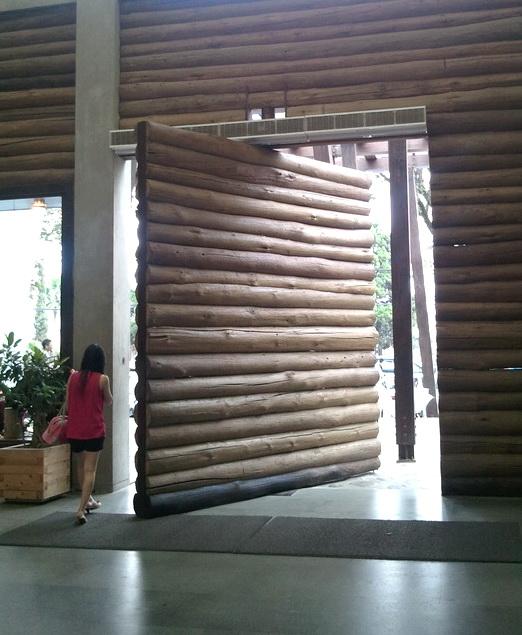 a giant bambo door