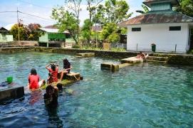 aktivitas warga di Kolam. padahal di bawah kolam itu hidup puluhan Morea