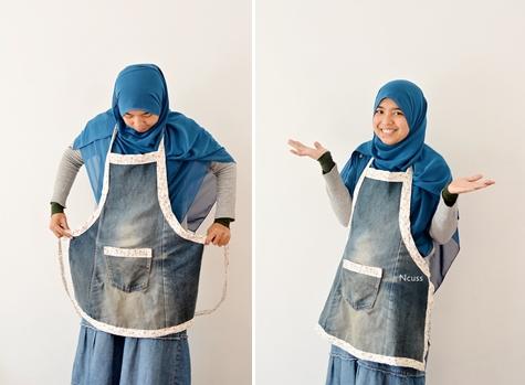 DIY Jeans Bekas jadi apron selesai, yey