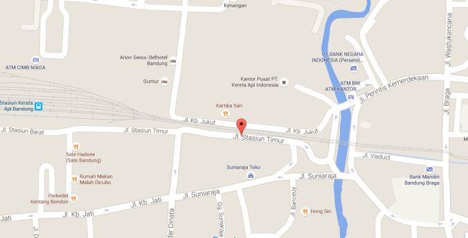 peta Jalan Stasiun Timur dari Google Map. mural ada di sebelah kiri jalan (one way)
